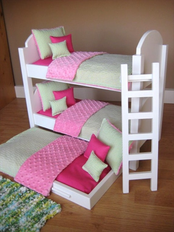 Doll BEDDING for American Girl Doll Triple Bunk Bed 15 Piece Set in Pink and Lime Green NEW Custom Sizes