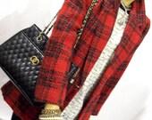 80's DVF Diane Von Furstenberg Red Plaid Tweed model chic Blazer 12P Medium