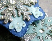 Silver and Blue Snowflake Hair Clips - Set of Two
