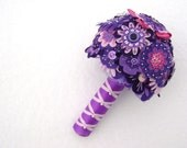 Pink and Purple Bridal Bouquet -  Elaborate Beading and Sequins - Free Boutonniere
