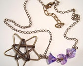 Wire Wrapped Necklace Star Necklace and Purple Bell Flowers Necklace Pendant Style Necklace