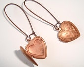 Antique Copper Earrings Heart Locket Earrings Long Drop Kidney
