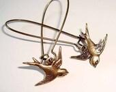 Sparrow Earrings Love Birds Earrings Antique Bronze Long Drop Kidney