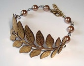 Branch and Leaves Antique Bronze Brass Bracelet with Bronze Pearls Branch Bracelet