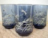Reserved for skellingtons3 --- ON SALE: CLEARANCE -- Dragonfly Meadows (Vintage Estate Set of Four Juice Beverage Glasses)