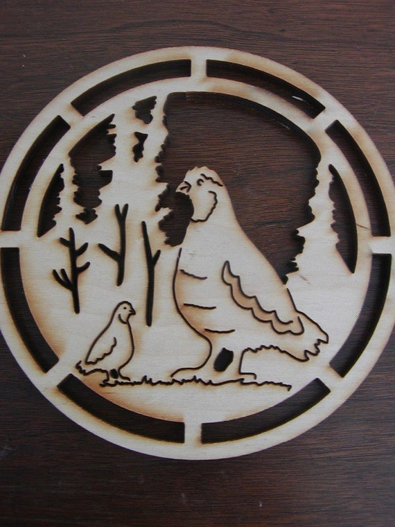 Vintage Wooden Trivets Set...Quail and Red Fox...Wall Decor...Wood Burned....Pyrographic Art