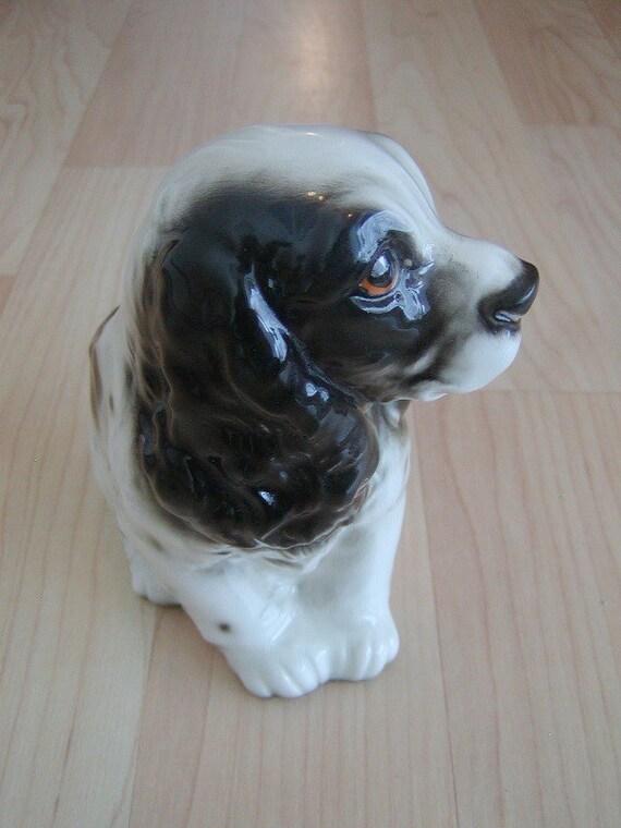 Vintage Lefton Springer Spaniel Puppy Dog Ceramic Planter...made in Japan