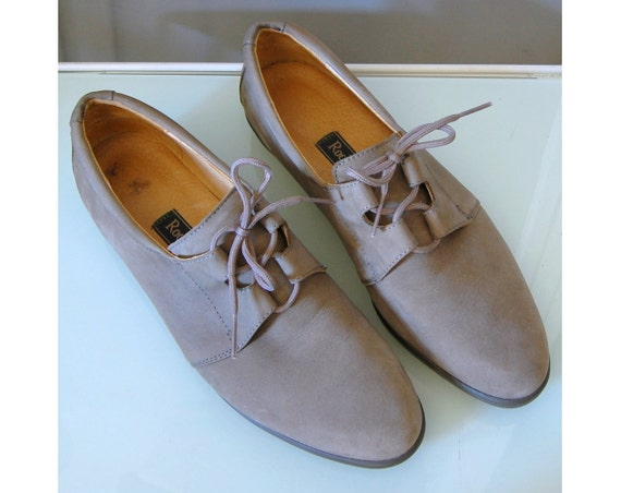 80's Taupe Soft Lace Up Oxfords 7