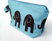 Elephants in a French Blue Background Diaper Clutch