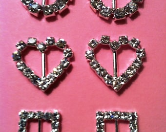 SALE--Rhinestone Buckle Ribbon Sliders--100 pcs