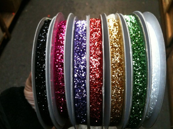 Glitter Ribbon- 5 yds. (available in 20 colors)