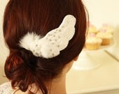 Odette Hairpiece(right) , Hand Crocheted Feather, Summer Wedding, Angel wings