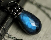 Blue Labradorite Necklace with Oxidized Sterling Silver