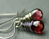 Simple Garnet Earrings