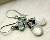Handmade Wire Wrapped Rainbow Moonstone and Aquamarine Gemstone Earrings on Oxidized Sterling Silver - PoppyLayne