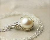 Wire Wrapped Freshwater Pearl Necklace on Bright Sterling Silver