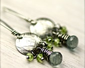 Rustic Wire Wrapped Moss Aquamarine and Peridot Earrings on Oxidized Sterling Silver