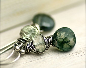 Handmade Wire Wrapped Moss Agate and Green Amethyst  Earrings on Oxidized Sterling Silver