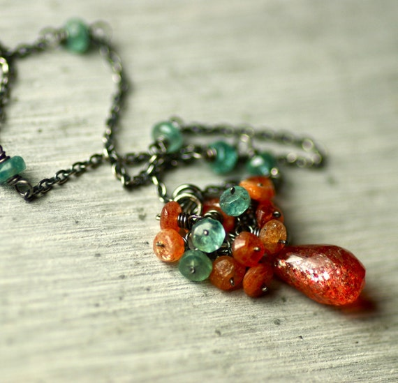 Reserved for Patti...Sunstone and Apatite Necklace and Matching Earrings