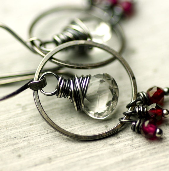 Wire Wrapped Rock Crystal and Garnet Earrings