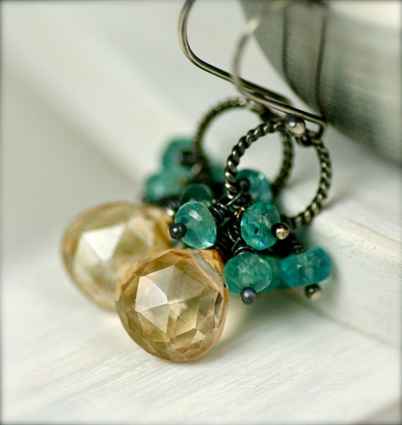 Apatite and Mystic Apricot Quartz  Earrings on Oxidized Sterling Silver