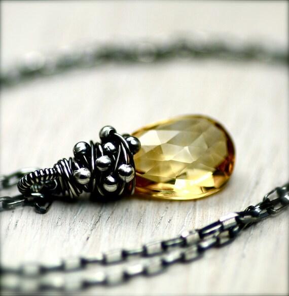 Wire Wrapped Honey Citrine Gemstone Necklace on Oxidized Sterling Silver November Birthstone