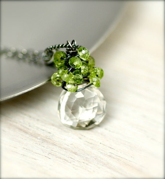 Rock Crystal and Peridot Necklace on Oxidized Sterling Silver