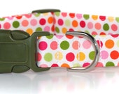 Cotton Candy,,,,,,Custom Dog Collar,,,Choose your buckle color, Olive, White or Pink