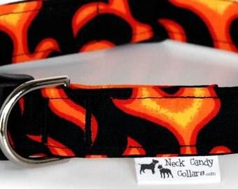 Blowtorch,,,, Handmade Black and Orange Flames Dog Collar