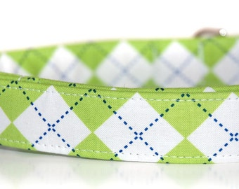 Green Argyle,,, DogCollar from Neck Candy Collars