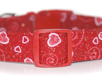 Sweetheart,,,,Custom Red Hearts Dog Collar