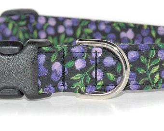 Blueberries,,,,,,,Custom Purple Berries Dog Collar
