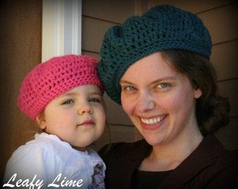 Mother Daughter Slouchy Crochet Beret