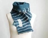 Wool silk felted scarf in teal blue white orange stripes geometric unisex