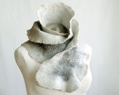 Felted wool silk ruffled scarf hand dyed for her in white gray feminine - teamcamelot fpconspiracy