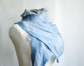 Dreamy felted wool silk scarf ruffled in blue romantic woman girl - teamcamelot teamspirit