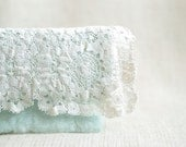 Clutch hand felted of mint green wool and off white vintage lace gift for mom