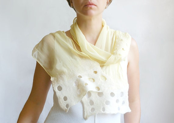Lemon light scarf hand felted of wool silk in yellow lemon pastel - tbteam teamspirit