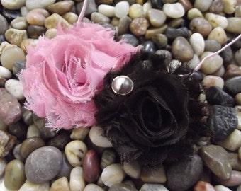 Headband Shabby Chic Pink & Brown Flower Headband - Baby Headband - Newborn Headband - Infant - Toddler - Girl - Adult - Photo Prop