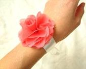 chiffon flower wrist corsage in coral pink