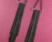 Long Gunmetal Chain Fringe Earrings