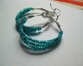 Custom Order for Ashli - Metallic Turquoise Blue Gold Beaded Hoop Earrings - Small Size
