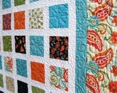 Simply SASSY 54x60 tangerine and turquoise sofa quilt