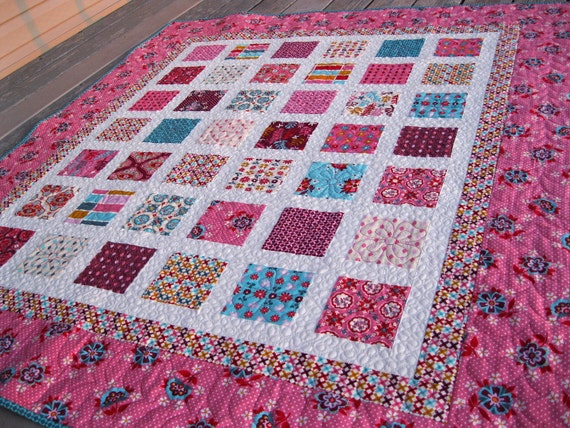 RESERVED Simply DOMESTIC BLISS 54x60 quilt in pink and turquoise