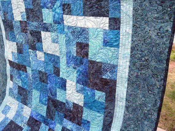 Rhapsody in Blues 52x65 all blue batiks quilt