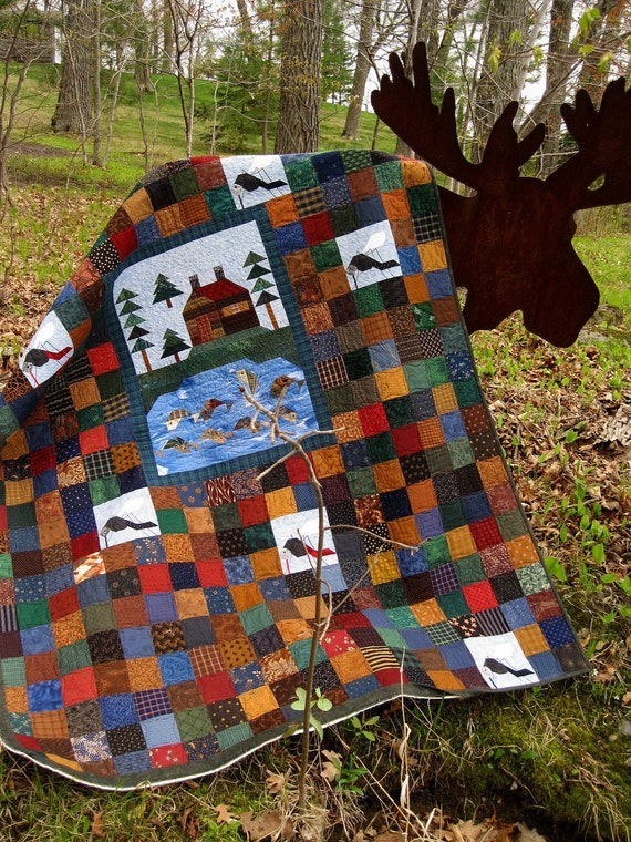 Cabin Country 57x75 rustic lodge look quilt RESERVED