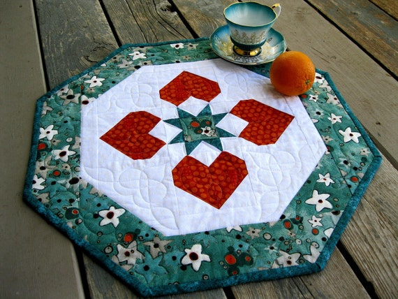 Hearts Around the Table 19 inch tangerine and turquoise centerpiece