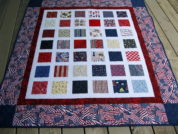 SALE 20% DISC Simply PATRIOTIC 54x60 red white blue quilt