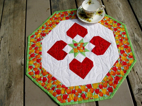 Tulip Time 19 inch RESERVED quilted table centerpiece in red, orange, yellow, kiwi