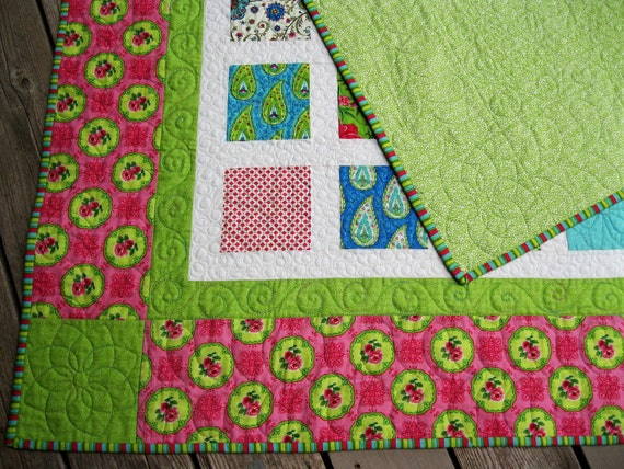 Simply a SUMMER HOUSE 54x60 pink, kiwi, robins egg blue quilt